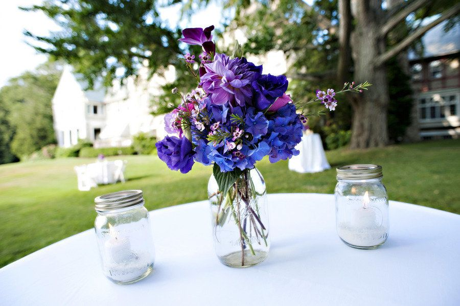 Blue Mason Jars Wedding Decor Simple Elegant Easy Add A Photo Frame With Table Number 9