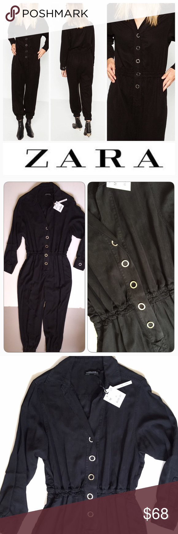 Zara NWT Black jumpsuit overall new M Beautiful trendy jumpsuit by Zara.  Soft brushed Black twill.  Snap closure front.  Cinched elastic hems.  Great style and comfort.   Brand new with tags. From a smoke/pet free home.   Ref203 Zara Pants Jumpsuits & Rompers