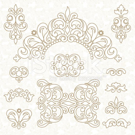 Vector set of ornament in Victorian style. Ornate elements for ...