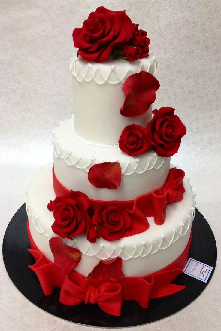 Red Wedding Cakes Rose Elegant Cake Rustic Dress Reception Grey Weddings