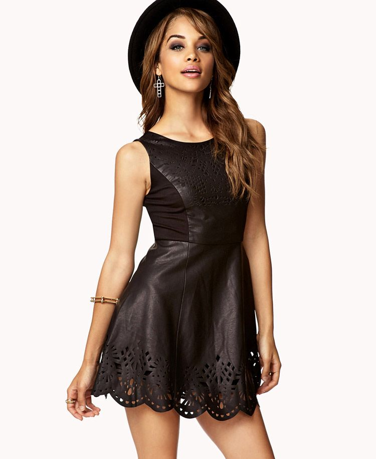 Laser Cutout Faux Leather Dress Forever21 Or Lace Sleeveless Cutouts