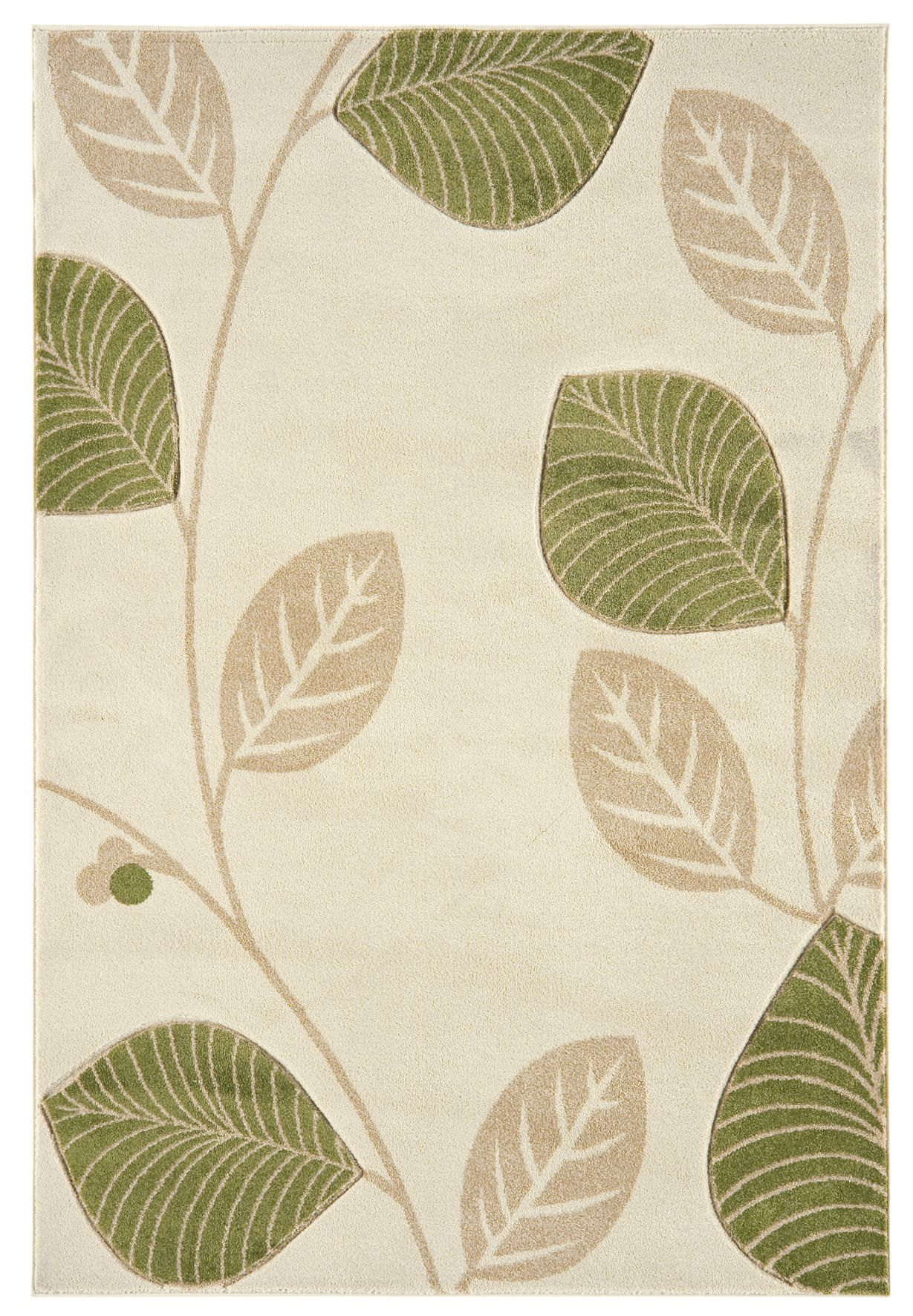 Natural Cream And Green Leaves Fl Living Room Rug