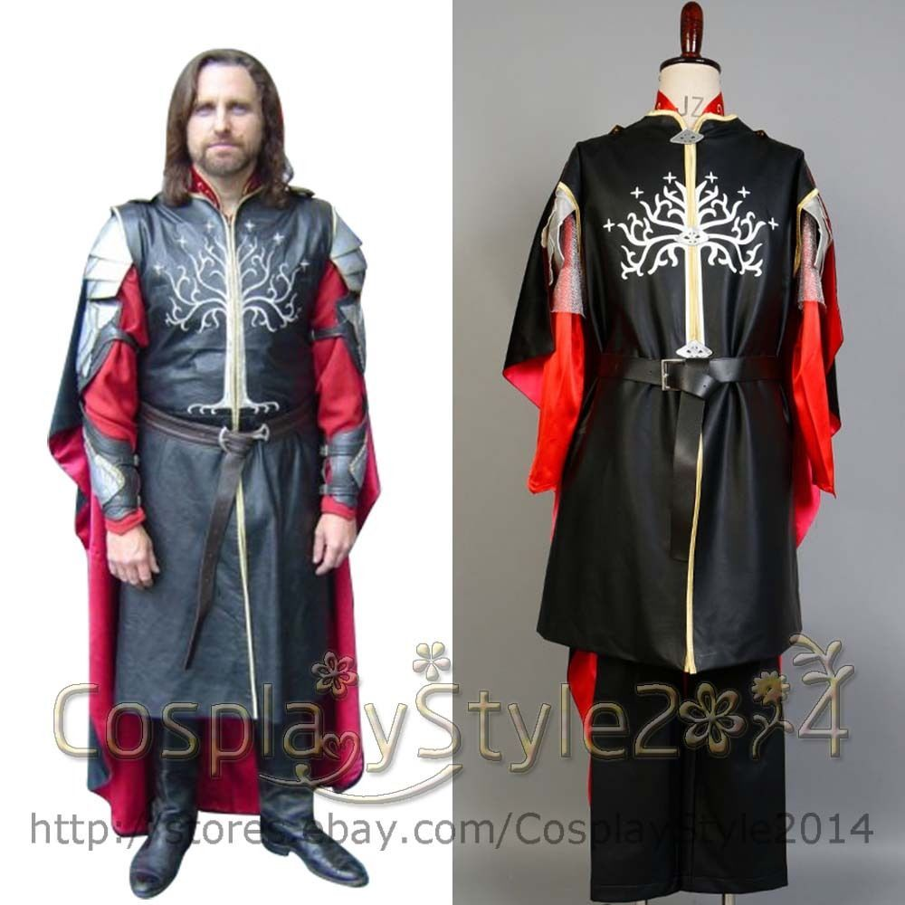 Lord of the Rings Hobbit King Aragorn II Elessar COSplay Costume Suit Outfit Set