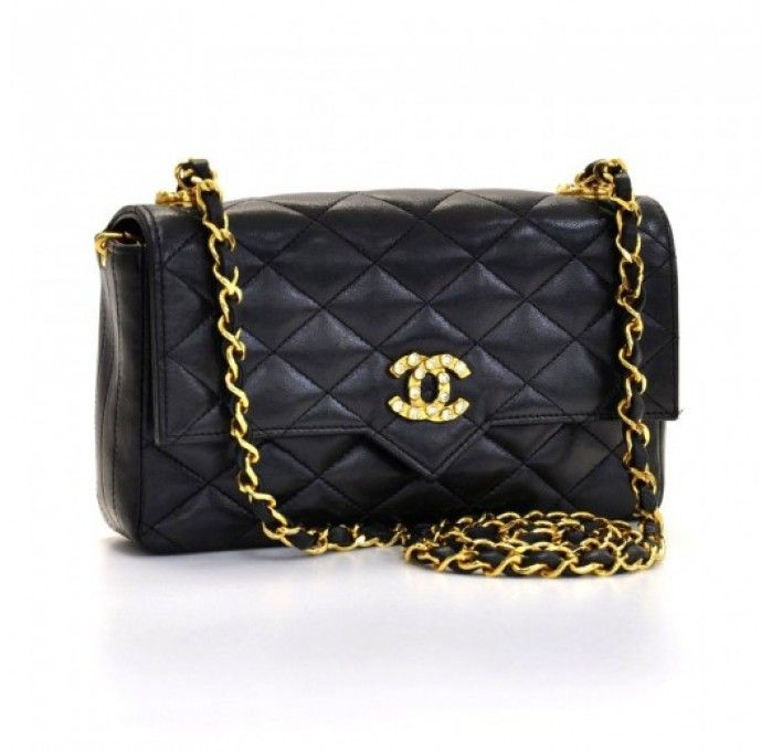 2-11781-238846--vintage-chanel-black-quilted-lambskin-leather-cc ... : black quilted chanel handbag - Adamdwight.com