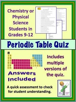 Periodic table quiz periodic table pinterest high school periodic table quiz for high school chemistry physical science urtaz Gallery