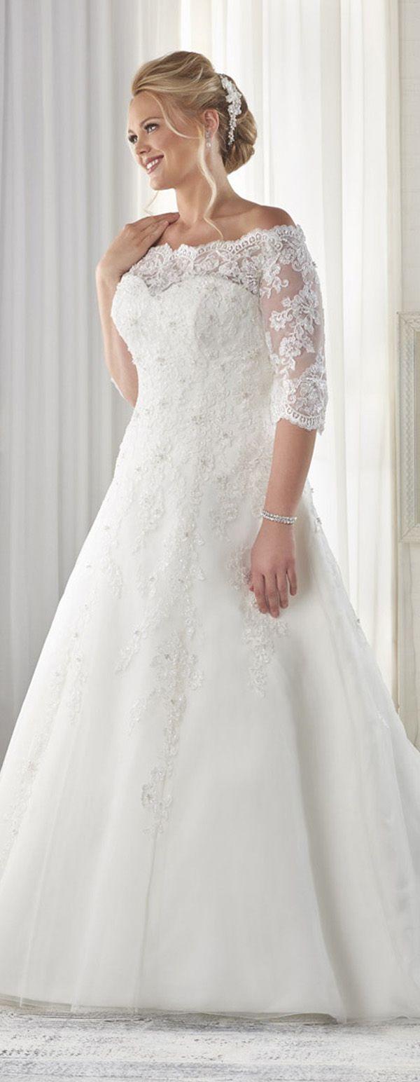 Marvelous Tulle Offtheshoulder Neckline Aline Plus Size Wedding