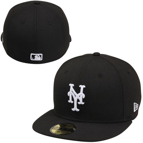 Men s New York Mets New Era Black League Basic 59FIFTY Fitted Hat ... 20dd59f5016f