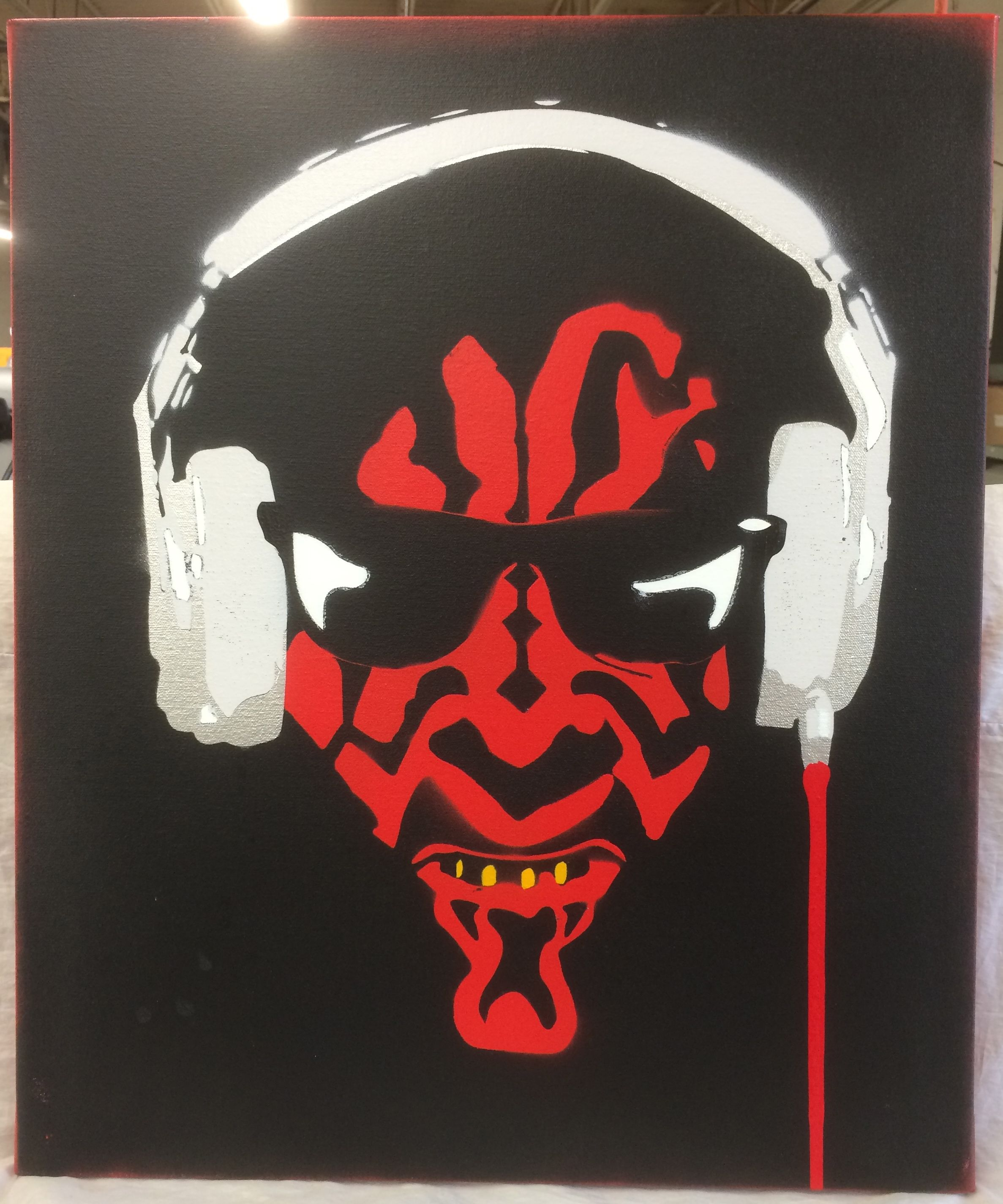 Darth Maul Stencil Art Acrylic Spray Paint And Brush Painted On Stretched Canvas 3 4 Wood Frame 20 X 24