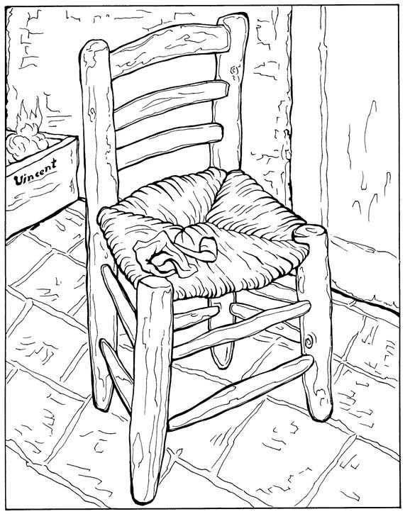 Van Goghs Chair Coloring Page Van Gogh Coloring Pages Van Gogh