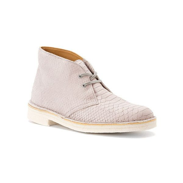 Clarks Desert Boot Ankle Boots ($170) ❤ liked on Polyvore featuring shoes, boots, ankle booties, grey snake leather, gray ankle boots, leather ankle boots, gray booties, leather booties and moccasin boots