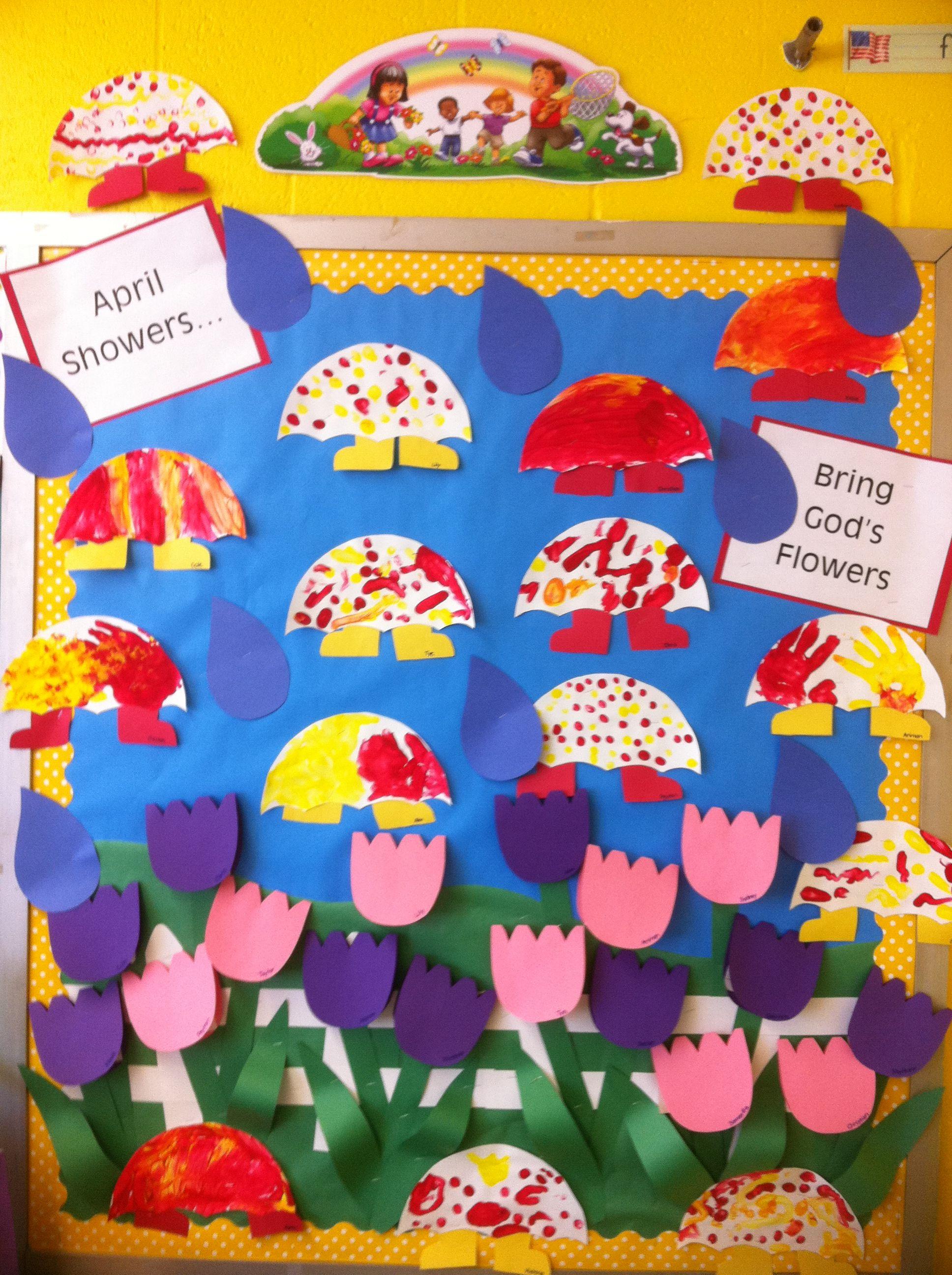 April Showers Bring God S Flowers Bulletin Board