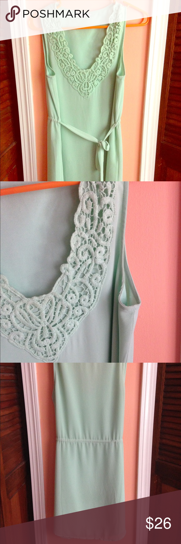 Mint Lace Dress Beautiful, feminine, and dainty! Not sheer, needs no slip. Tie waist that wraps through the back of the dress, providing a cinch when tightened. Longer in front and back and drawn up on the sides of the thigh. Very sexy and classy dress. Dress it up with your favorite heels and earrings, or dress it down with flats and your trusty denim jacket! ✌🏼️ Naked Zebra Dresses Mini