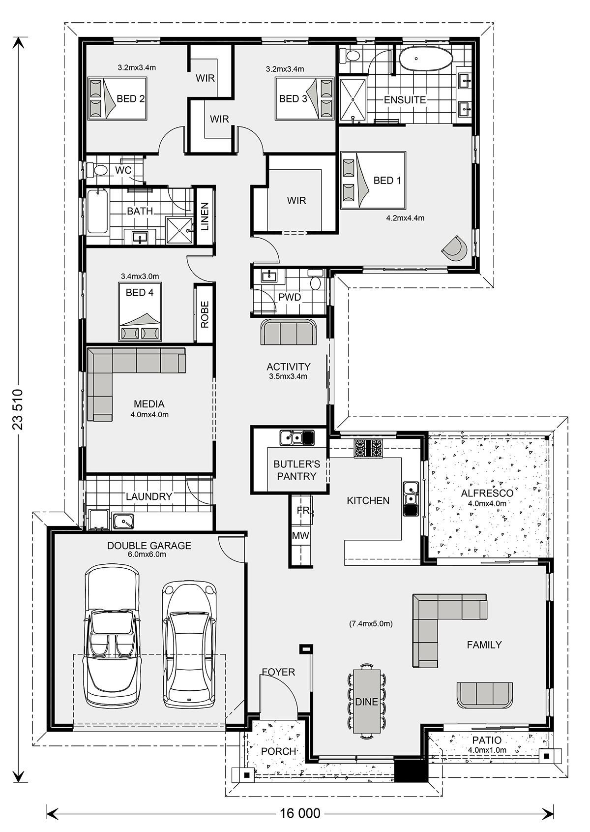 Lakeview 297 Home Designs In G J Gardner Homes Dream House Plans Hotel Floor Plan Home Design Floor Plans