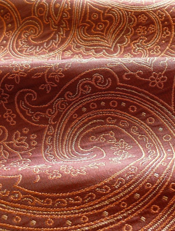 "100% SILK FINE LINE DAMASK LAMPAS PAISLEY ""RED PEPPER"""