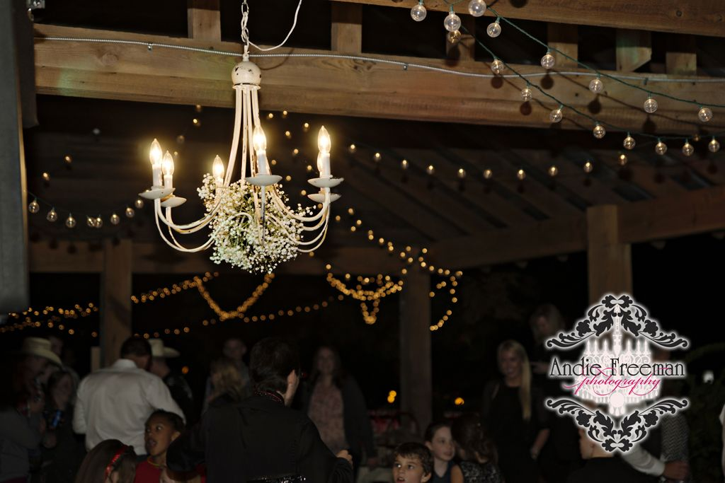 Chabby chic chandelier decorated in baby's breath hanging from barn reception venue.  Country Western fall wedding in barn. Photography: Andie Freeman Photography, www.TheAthensWedd... Venue: The Barn on Belmont; thebarnonbelmont.... Event Design and Floral: Hydrangea House Make-up:  Bombshell Creations www.BombshellCreations.com