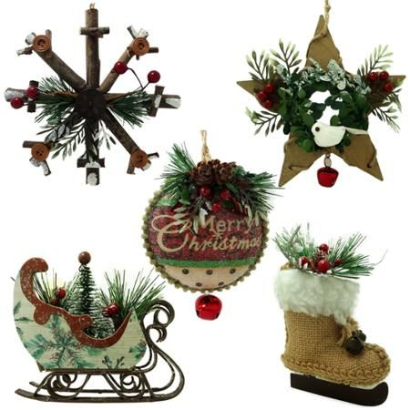 Holiday Time Lodge Ornaments Set Of 5 Christmas Ornaments Holiday Time Christmas Decorations