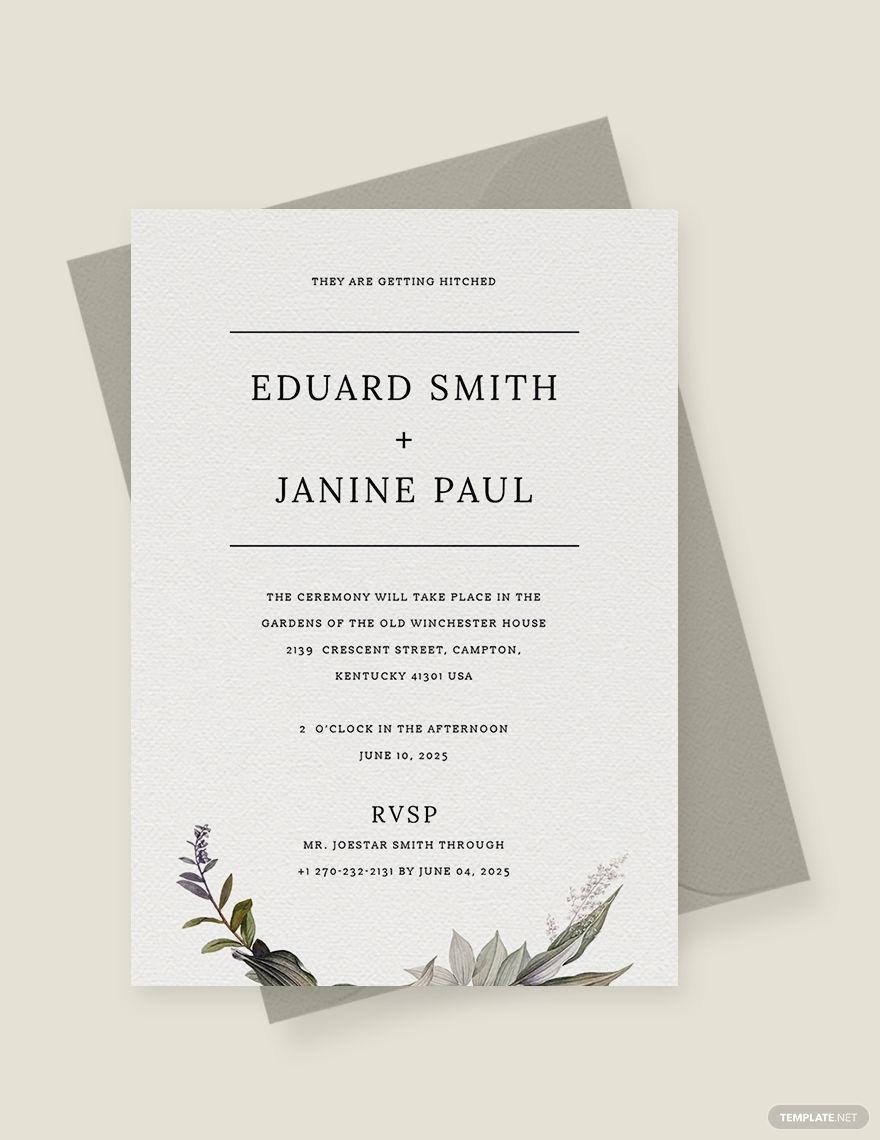 Minimalist Fall Wedding Invitation Template Free Pdf Word Psd Apple Pages Illustrator Publisher Outlook Fall Wedding Invitations Wedding Invitation Templates Invitation Template
