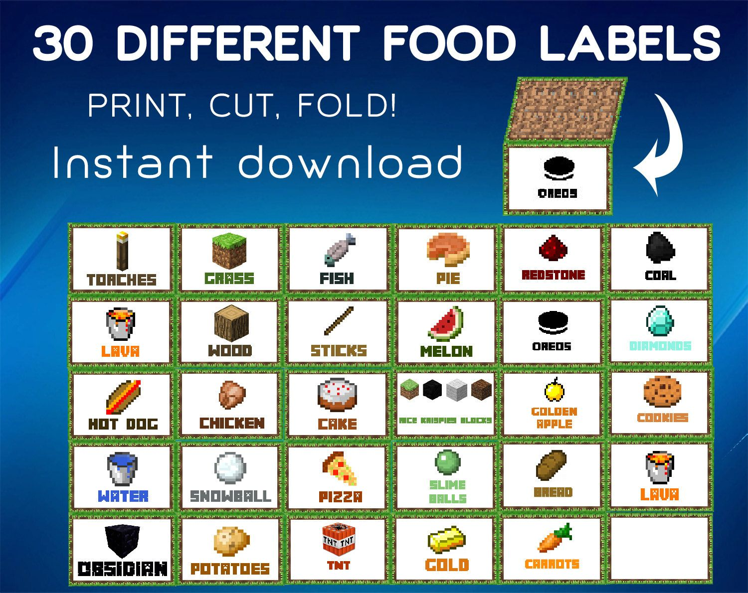 Minecraft Food Labels Tent Cards By FISHDESGN