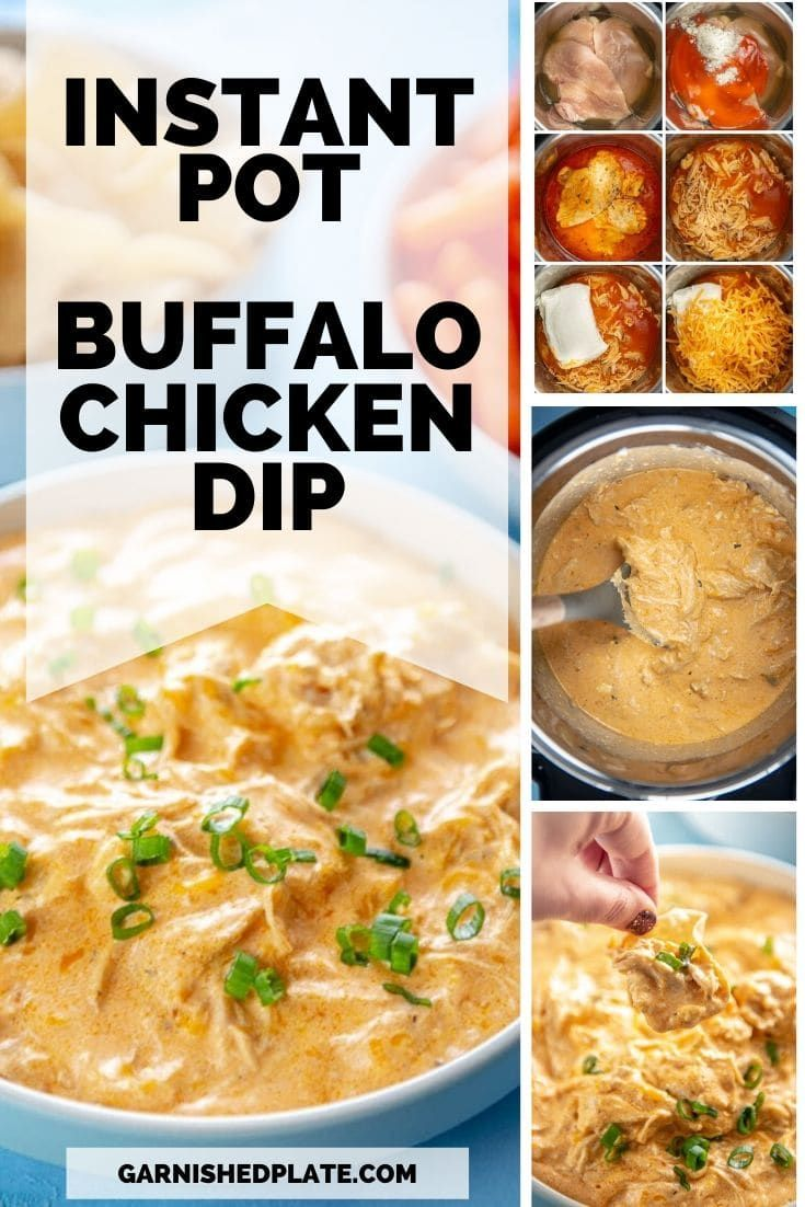 Instant Pot Buffalo Chicken Dip - Garnished Plate