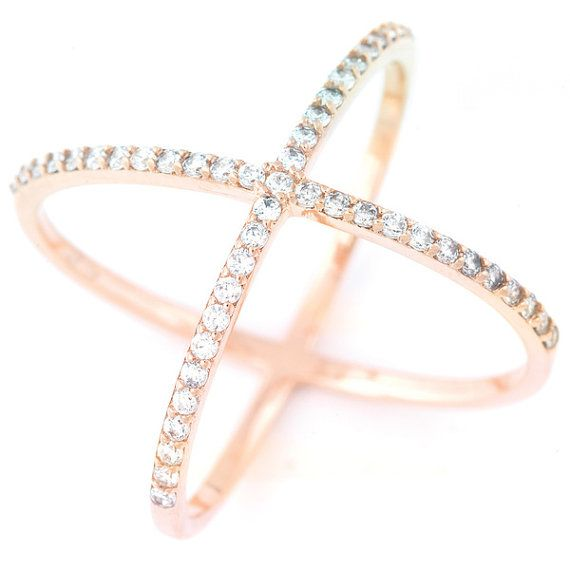 """Fashion /""""X/"""" Criss Cross Band  Ring for Women CZ 14k Rose Gold Plated Silver"""