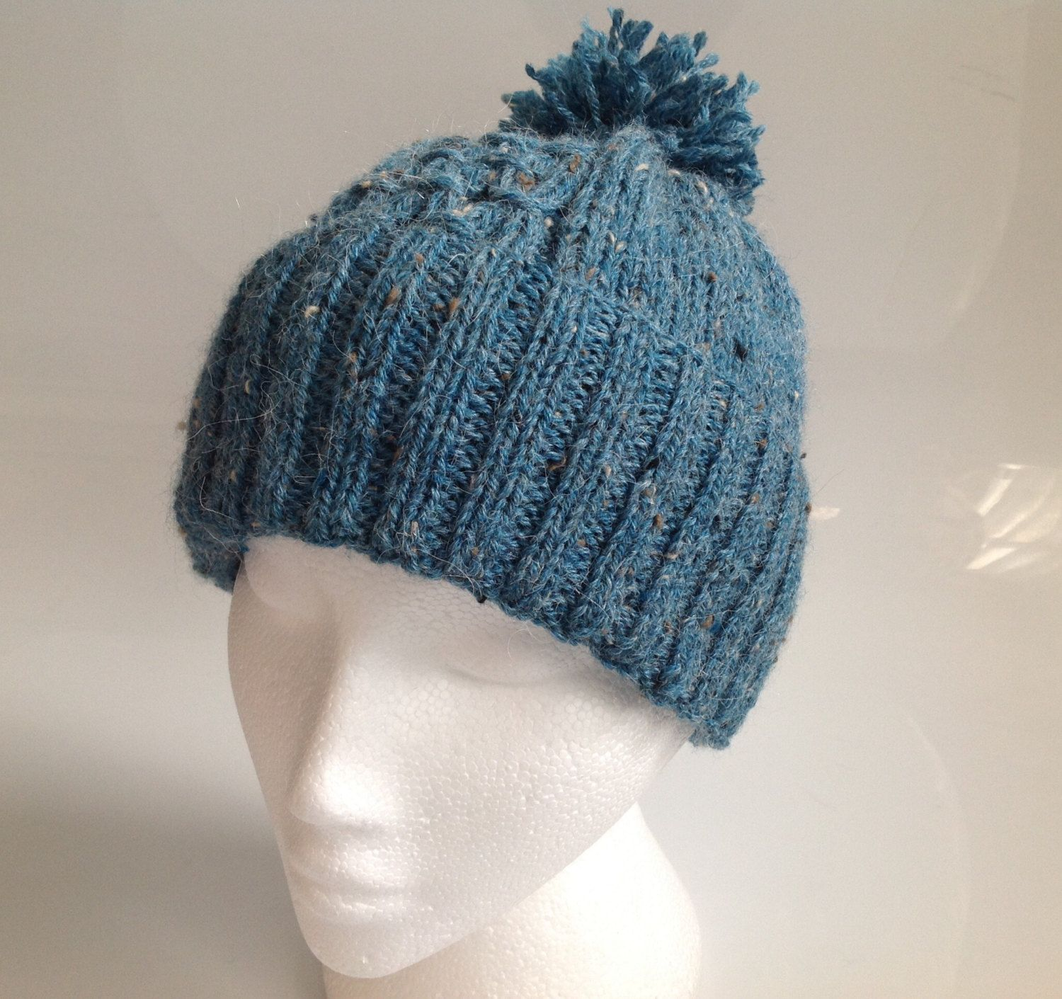 833193db Ladies Teal Alpaca Tweed Knitted Pom Pom Beanie Hand Knitted in Scotland by  sewmoira on Etsy