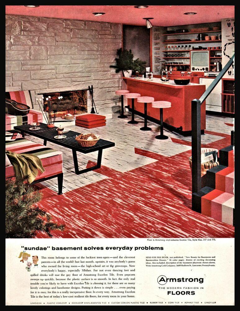 1956 ARMSTRONG Vinyl Asbestos Tile Flooring AD Midf