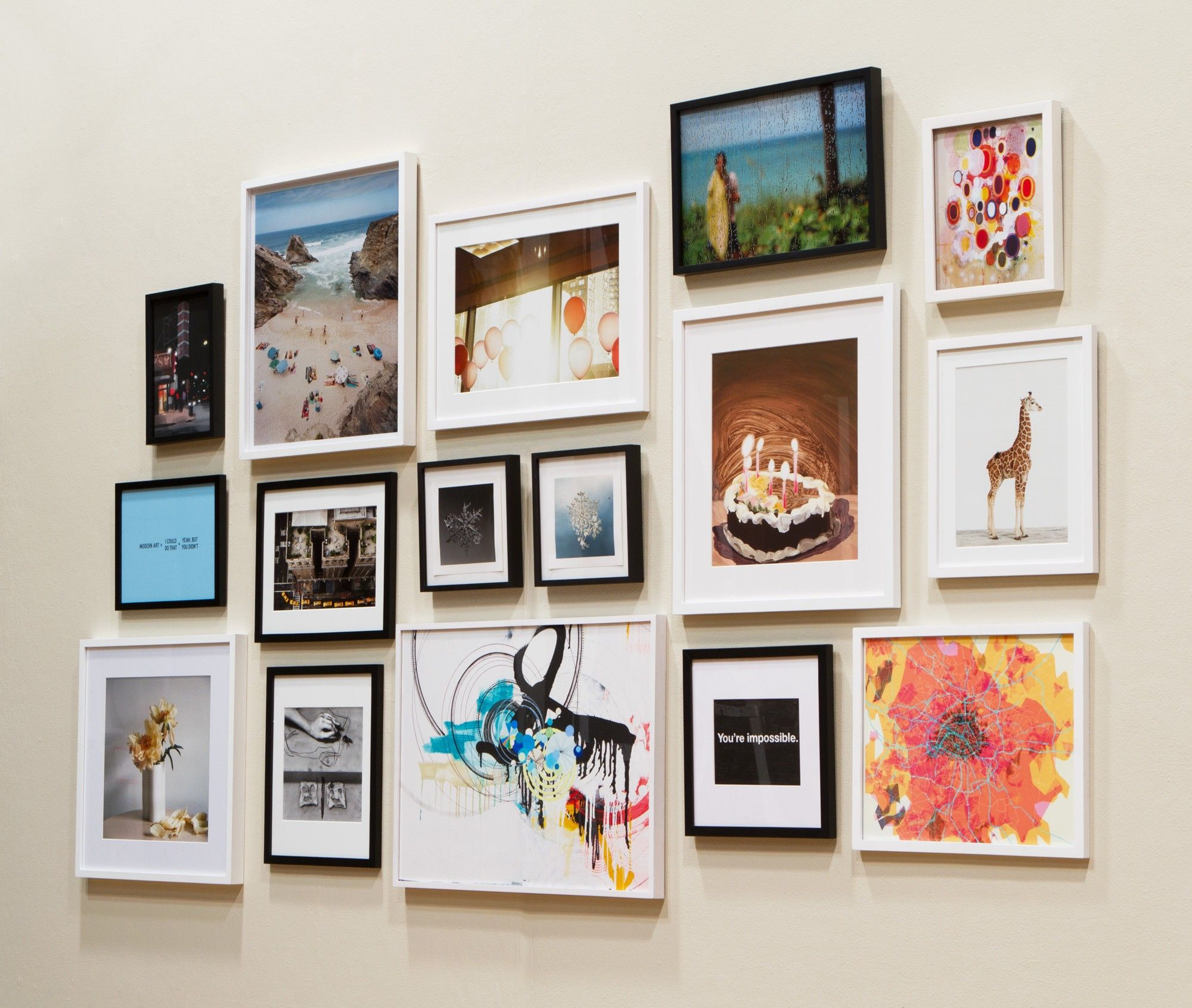 Color of art gallery walls - Gallery Wall Love The Mix Of Frame Colors Same Size Frames With And Without