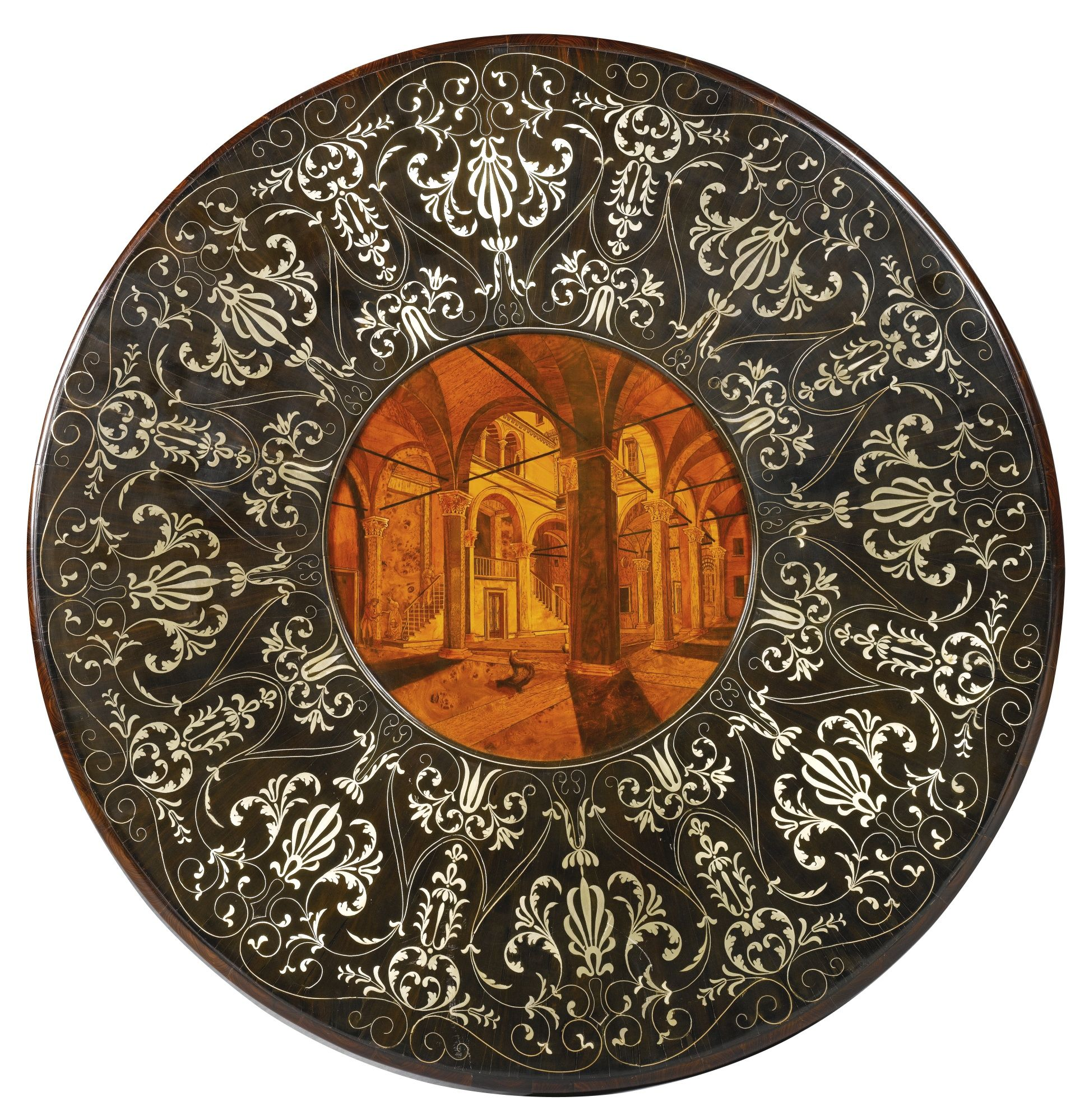AN ITALIAN PEWTER AND BRASS INLAID EBONY, KINGWOOD, FRUITWOOD AND MARQUETRY  CENTRE TABLE ATTRIBUTED