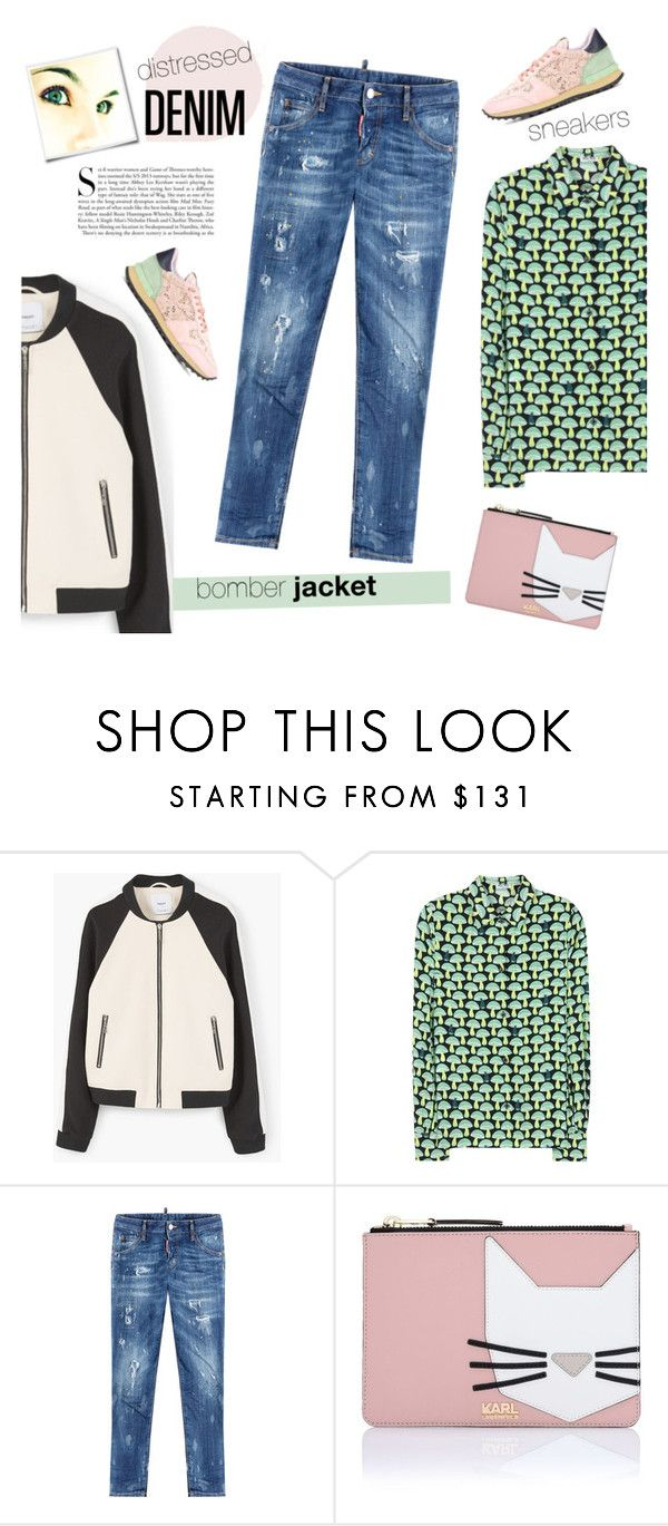 """""""Casual Style"""" by nolonger-here ❤ liked on Polyvore featuring MANGO, Miu Miu, Dsquared2, Karl Lagerfeld, Valentino, Kershaw, distresseddenim and bomberjackets"""