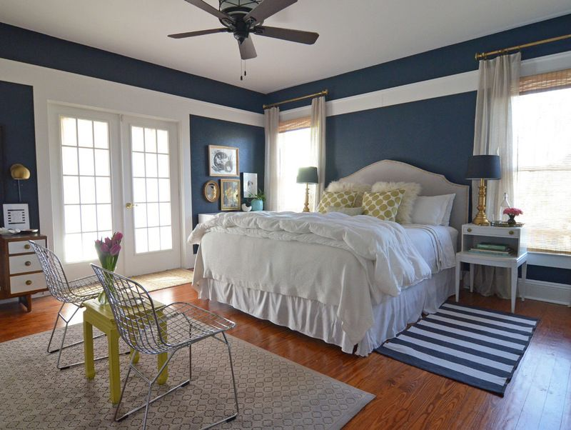 Fort Worth  TX  Misty Spencer   eclectic   bedroom   dallas   by Sarah  Greenman. Wall paint  Pitch Cobalt 5010 2  Valspar  striped rug  Ikea