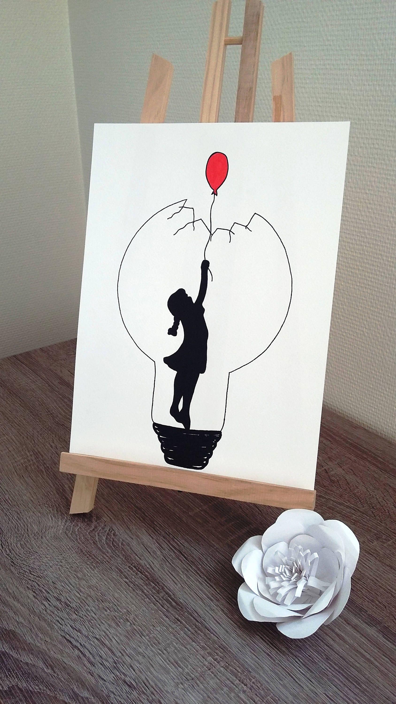 """Affiche Illustration Noir et blanc ampoule """"le ballon rouge"""""""