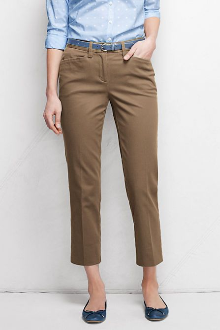 84484b7a5a43 Women's Fit 2 Chino Crop Pants (French Walnut) | Lands' End ...