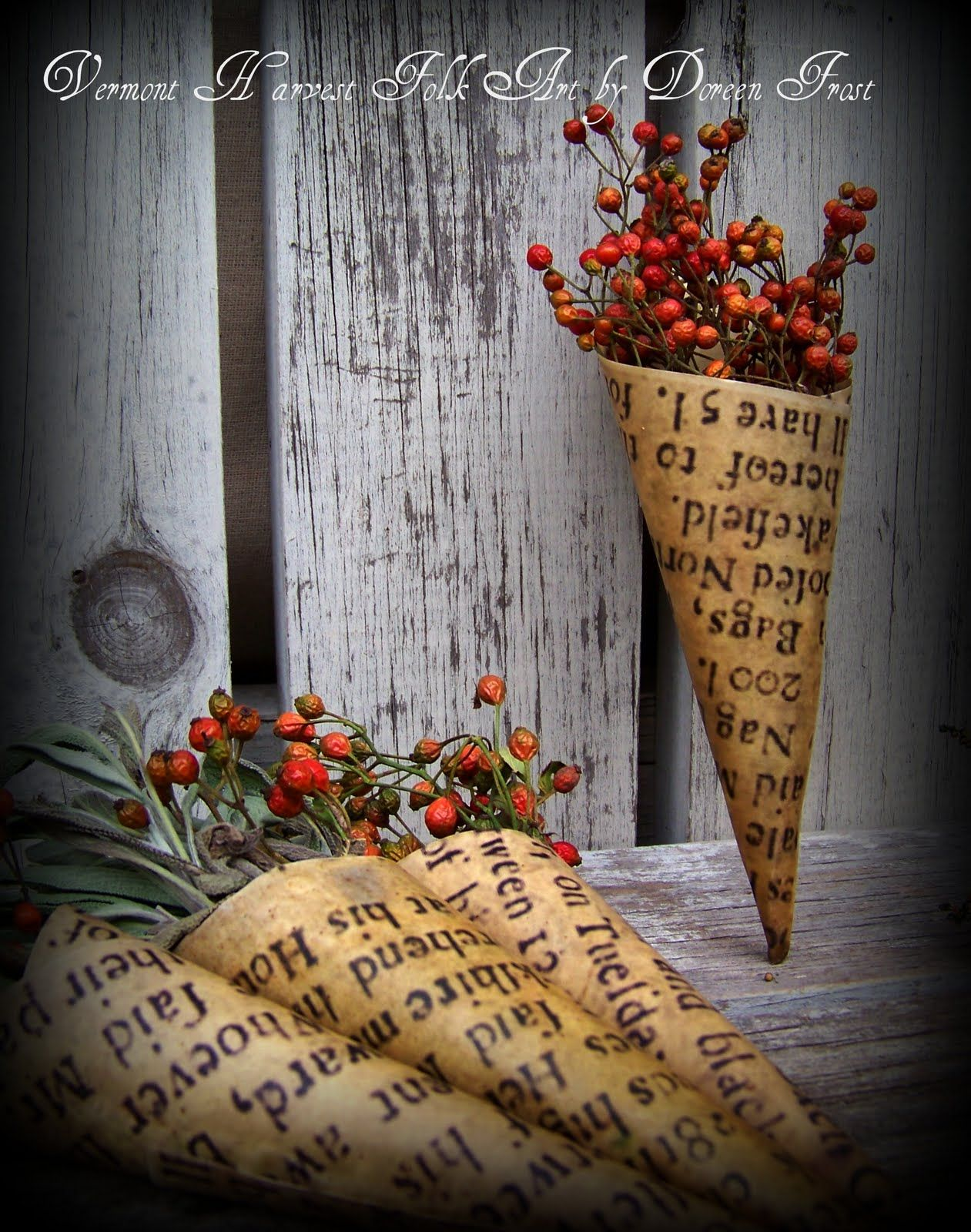 dried rose hips and coned paper stained... and it is so cool!