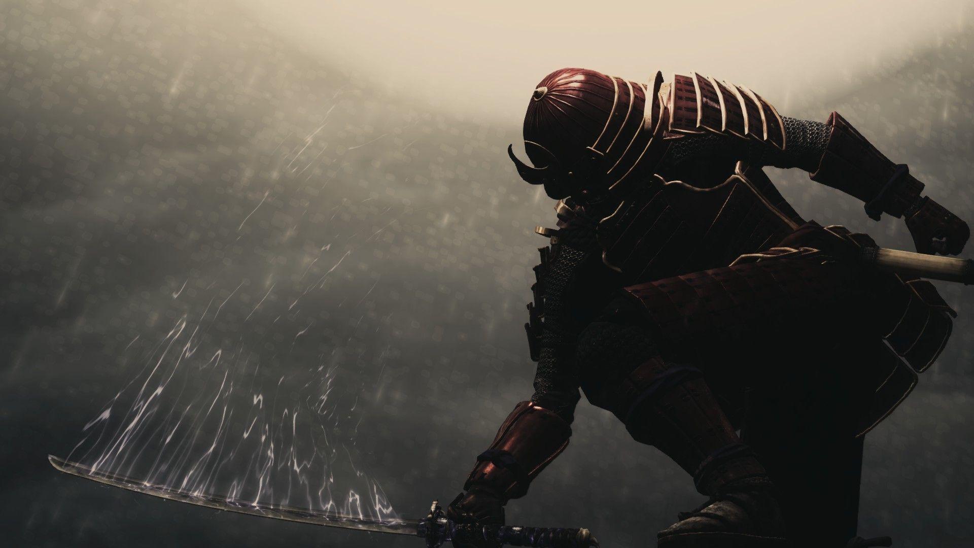 Download wallpaper samurai, sword, armor, background