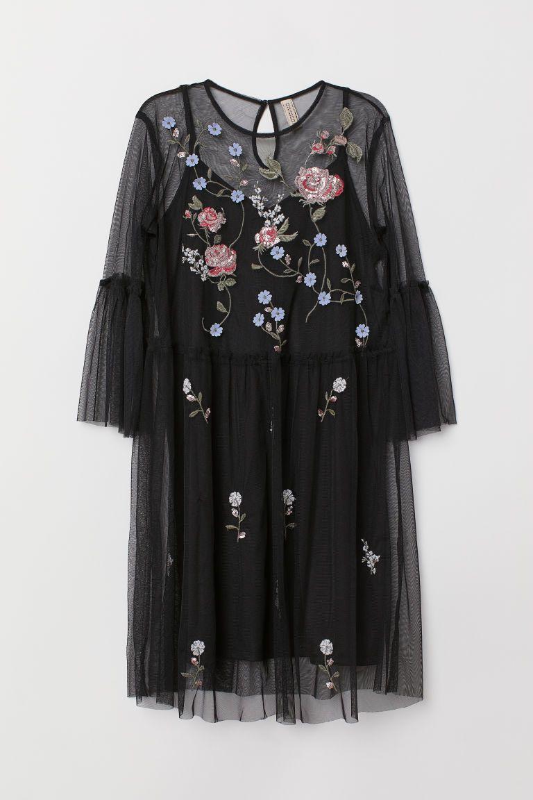 b95c852f8c6 Платье из тюля - Черный Цветы - Женщины