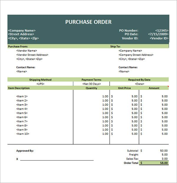 10+ Purchase Order Template Free Printable Word, Excel  PDF - purchase order template microsoft word