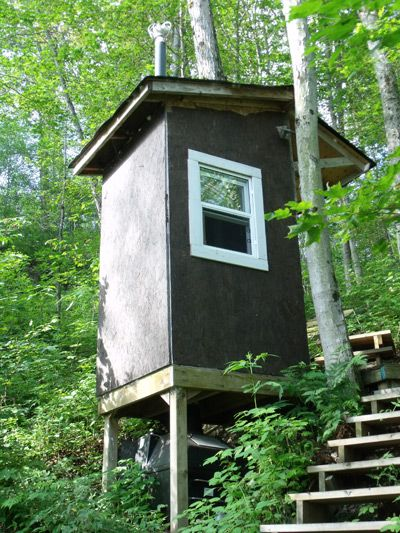 Outdoor tank below composting toilet this is an outhouse for Cabin septic systems