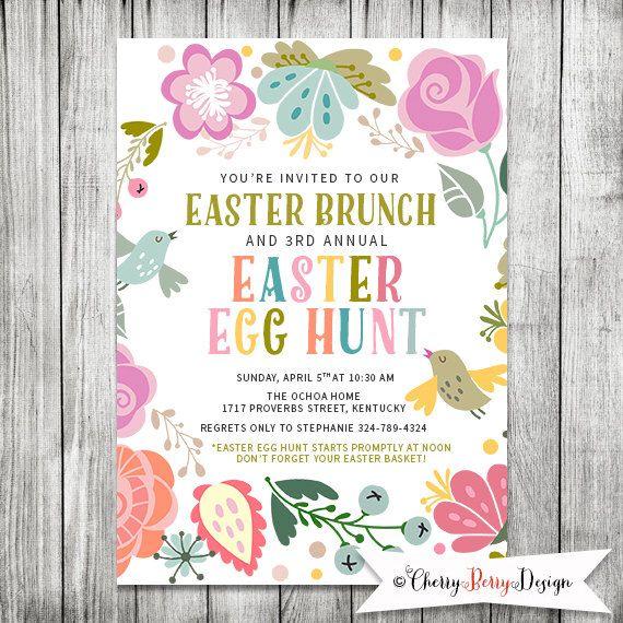 easter egg hunt invitation easter brunch invite easter