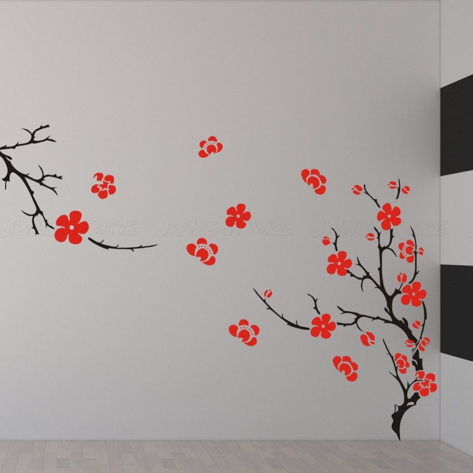 Home wall decor bedroom - Pretty White Wall Concept Decor With Awesome Floral Wall Painting