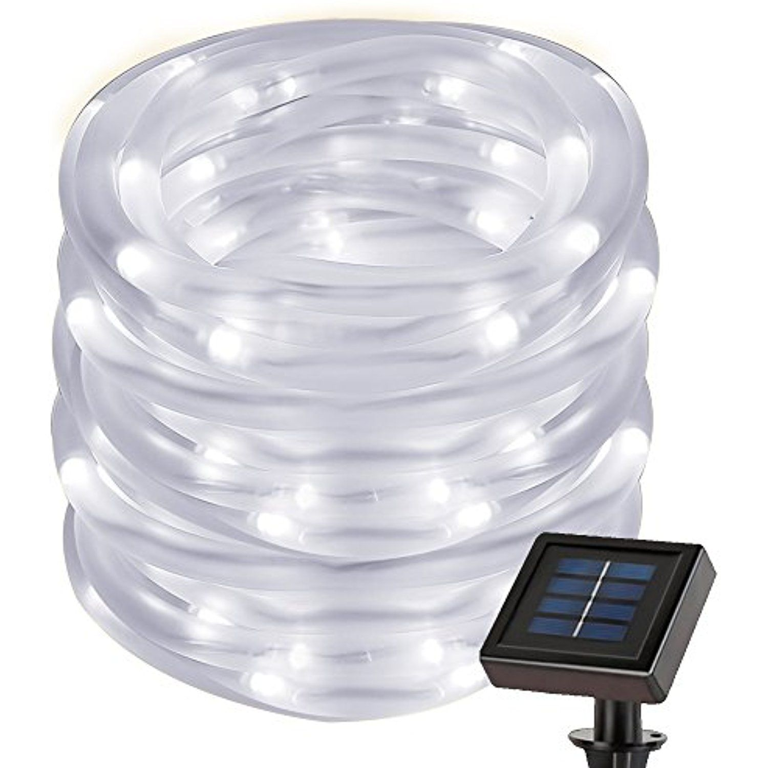 LE 22.97ft Solar Rope String Lights, Waterproof IP55, 50 LED, 6000K ...