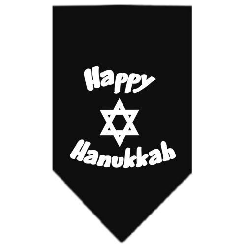 Happy Hanukkah Screen Print Bandana Black Small