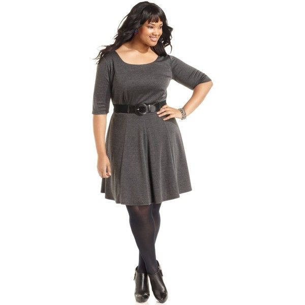 Ruby Rox Plus Size Dress, Three-Quarter-Sleeve Belted A