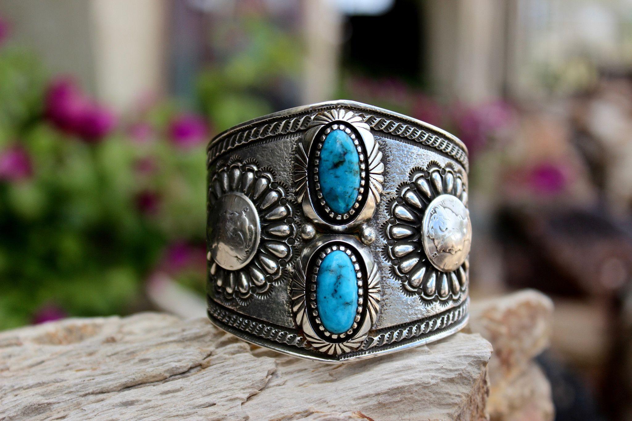 Arizona Kingman Turquoise Tufa Cast Mercury Dime Bracelet Native American Handmade Chris Billie