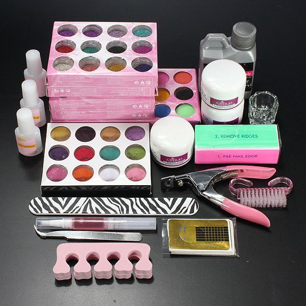 Professional Acrylic Powder Liquid Glitter Beads Brush Nail Art Tool ...