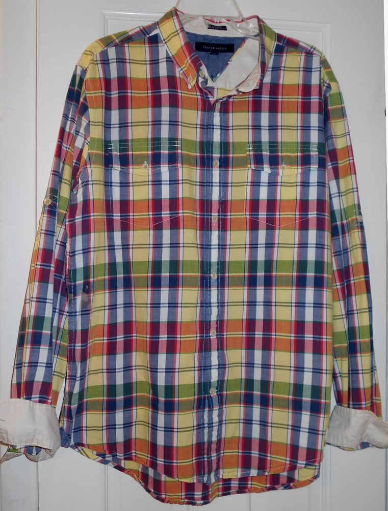 8fecd24b Men TOMMY HILFIGER Red Blue Orange Green Yellow Plaid RollUp Long Sleeve  SHIRT~L #TommyHilfiger #ButtonFront
