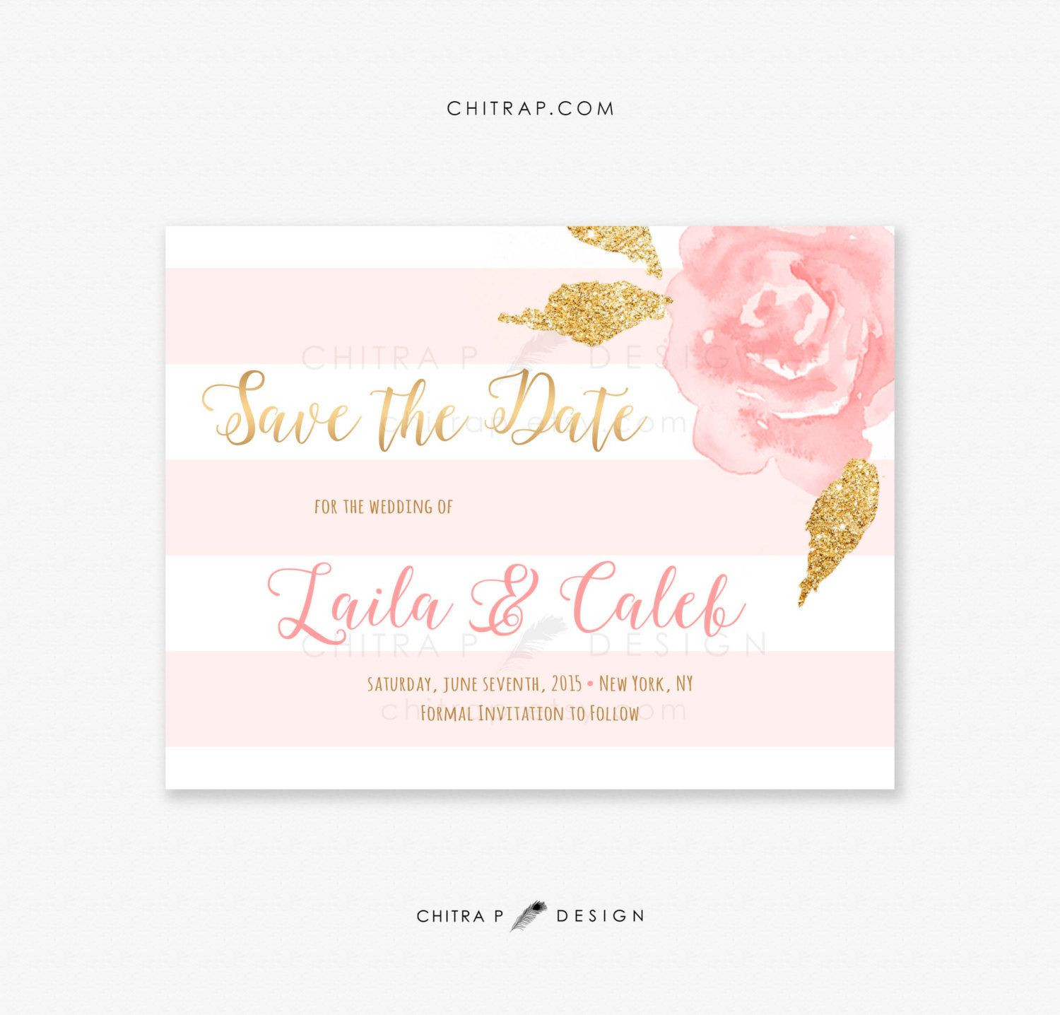 Blush Pink Gold Save The Date Card  Printed, Watercolor