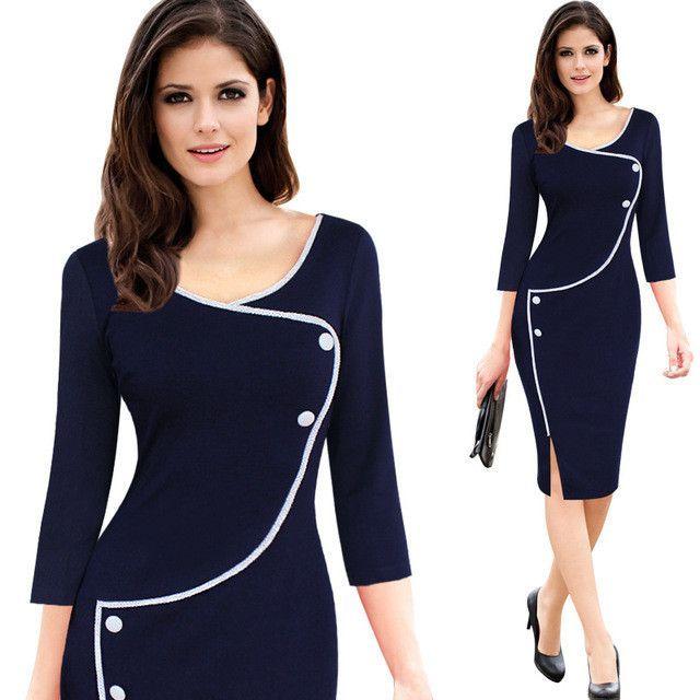 Vfemage Womens Vintage Brief Split Bottom Elegant Casual Work Sleeve Deep  O-Neck Bodycon Knee Women Office Pencil Dress 4239 a6d047da326c