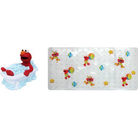 Elmo Faucet Cover And Bath Mat Set Sesame Street Bath Time Fun