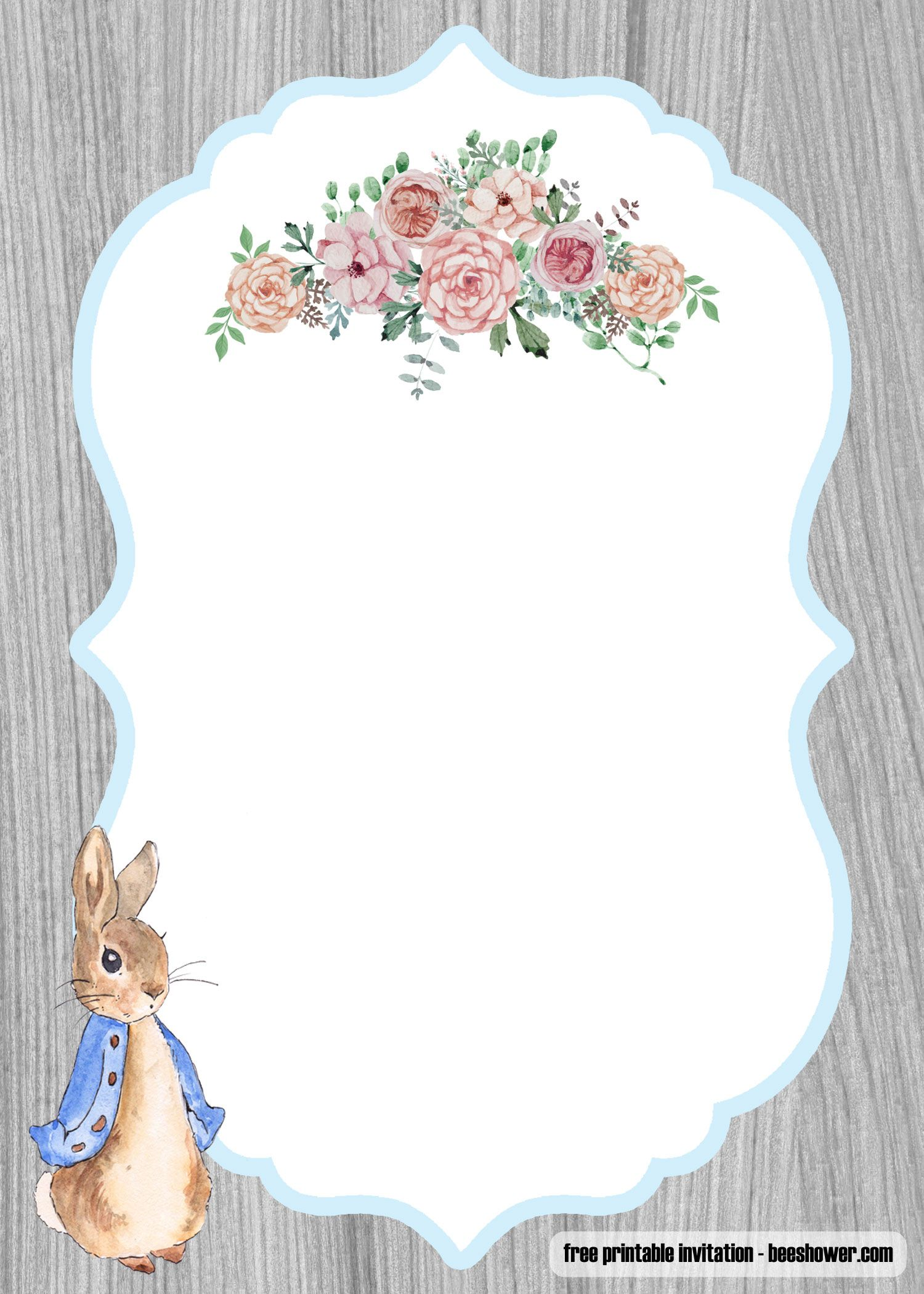 Free Peter Rabbit Baby Shower Invitations Templates