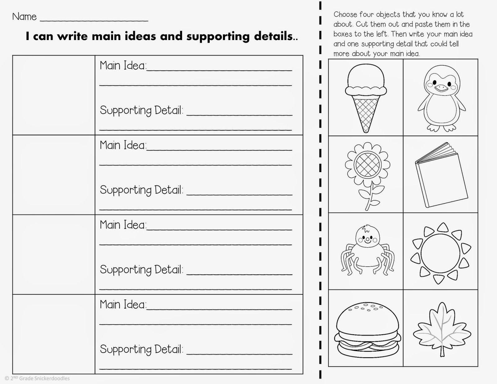 2nd Grade Snickerdoodles Main Idea And Supporting Details Main Idea Worksheet 2nd Grade Worksheets Main Idea [ 1237 x 1600 Pixel ]